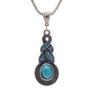 Bohemian Vintage Braided Blue Necklace